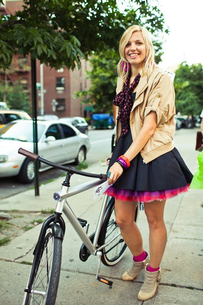 Riding bikes while wearing skirts | A Cup of Jo