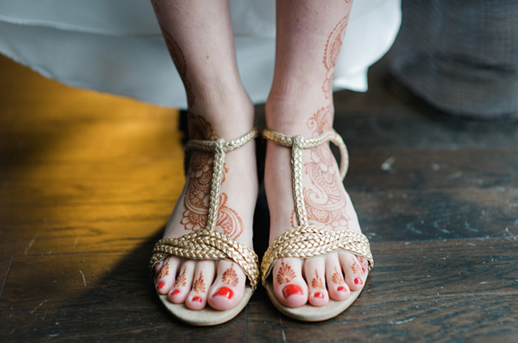 Real Indian Wedding Shoes Henna