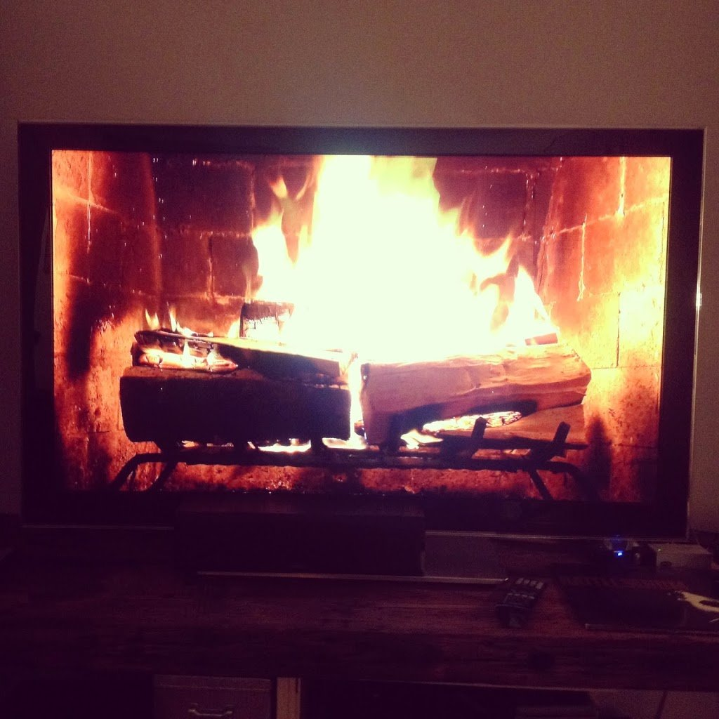 Party Tip: Roaring Fire on a TV | A Cup of Jo