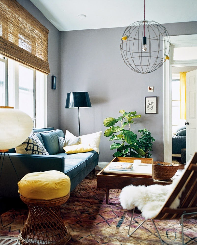 Help what color should we paint our living room a cup of jo Gray blue yellow living room