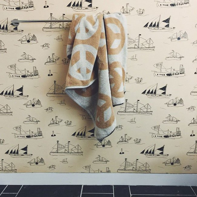 Ohoy wallpaper by Fine Little Day and Lena Corwin Peace Towel