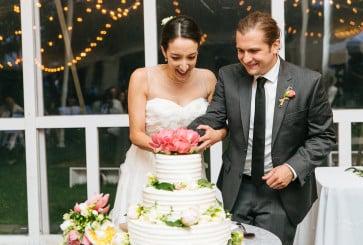 Gender Reveal Cake at a Wedding