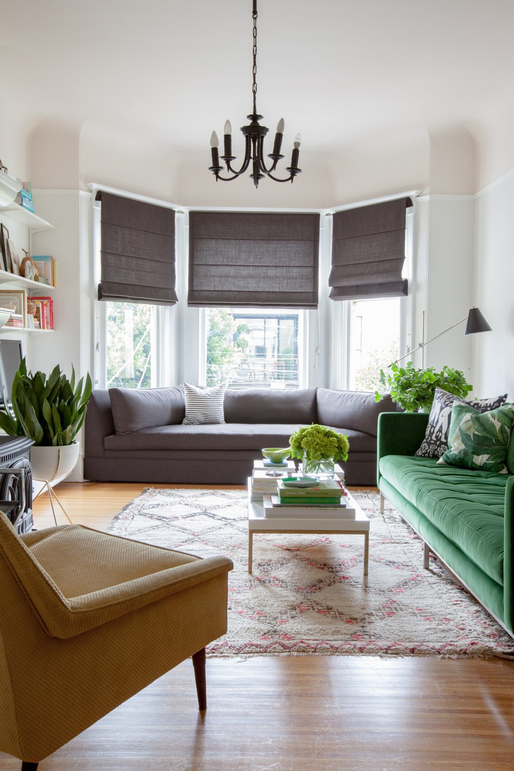 San francisco house tour a cup of jo - Living room bay window treatments ...