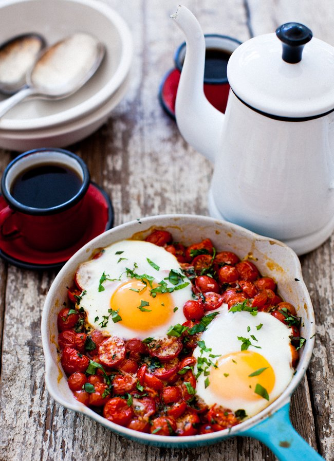 Baked Eggs on a Bed of Roasted Tomatoes | A Cup of Jo