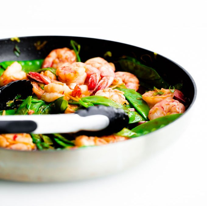 Shrimp, Snow Pea and Ginger Stir Fry