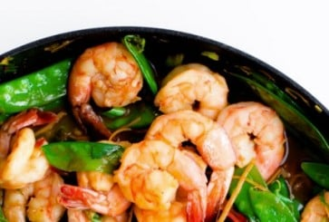 Shrimp, Snow Pea, and Ginger Stir Fry