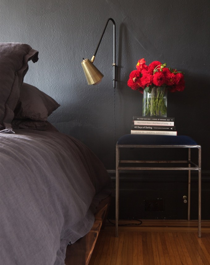 Jordan Ferney's bedroom with black paint