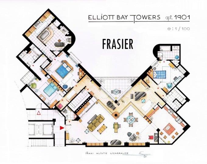 The blueprint of Frasier's apartment