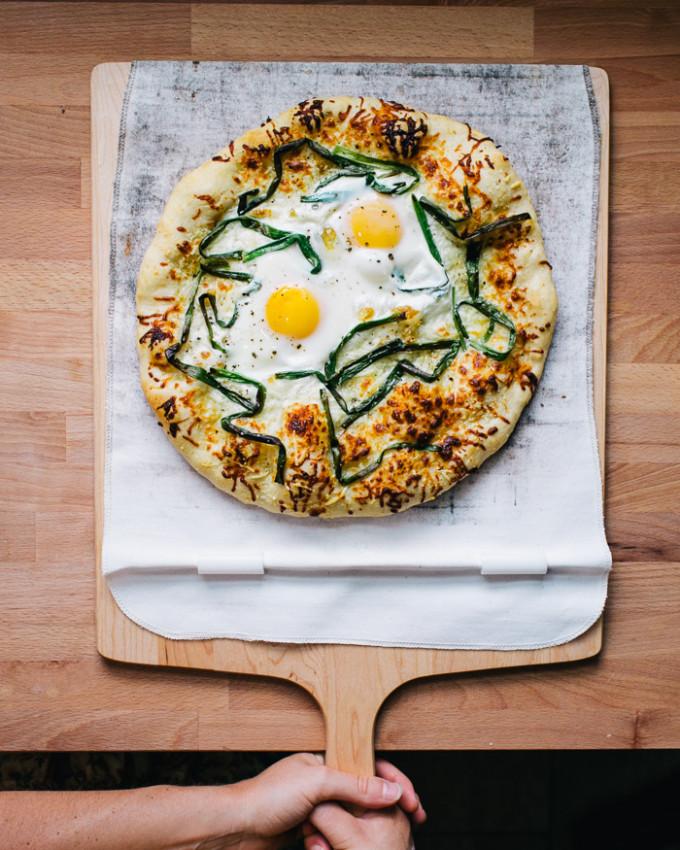 White Pizza with Pecorino, Scallions and Egg