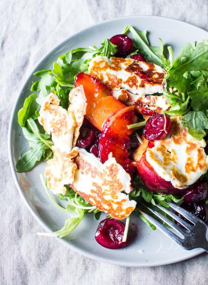 Halloumi, Carmelized Peach and Cherry Salad