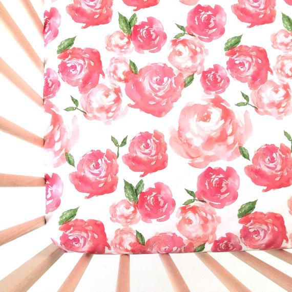 Pink Peonies crib sheets