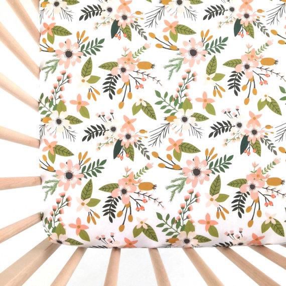 Flower crib sheets