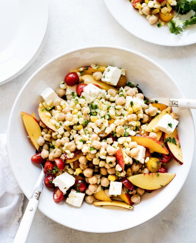 Tomato, Corn and Nectarine Chickpea Salad
