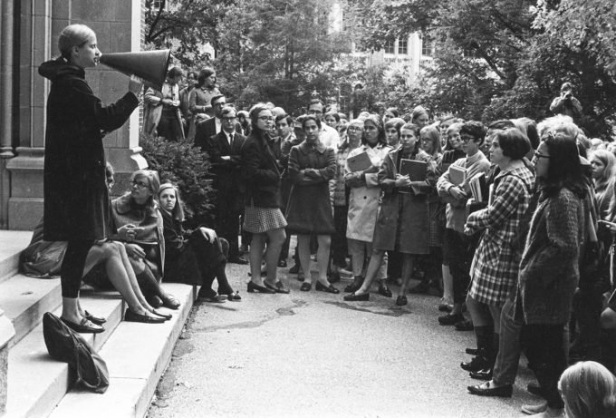 Hillary Rodham (center) attends a student rally at Wellesley College in 1968.