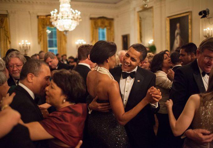 The Obamas dancing