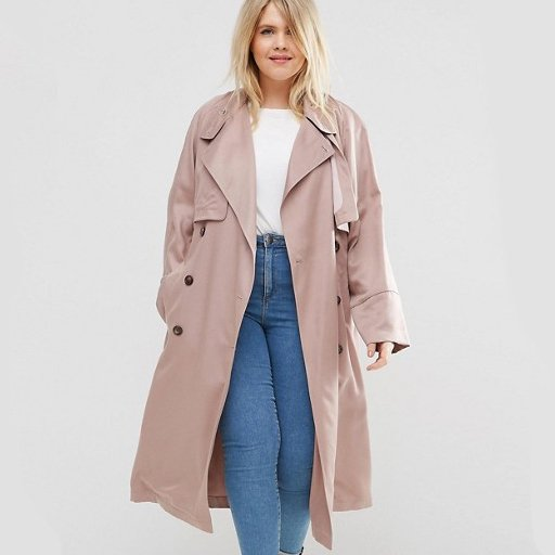 Pink Plus-Size Swing Trench