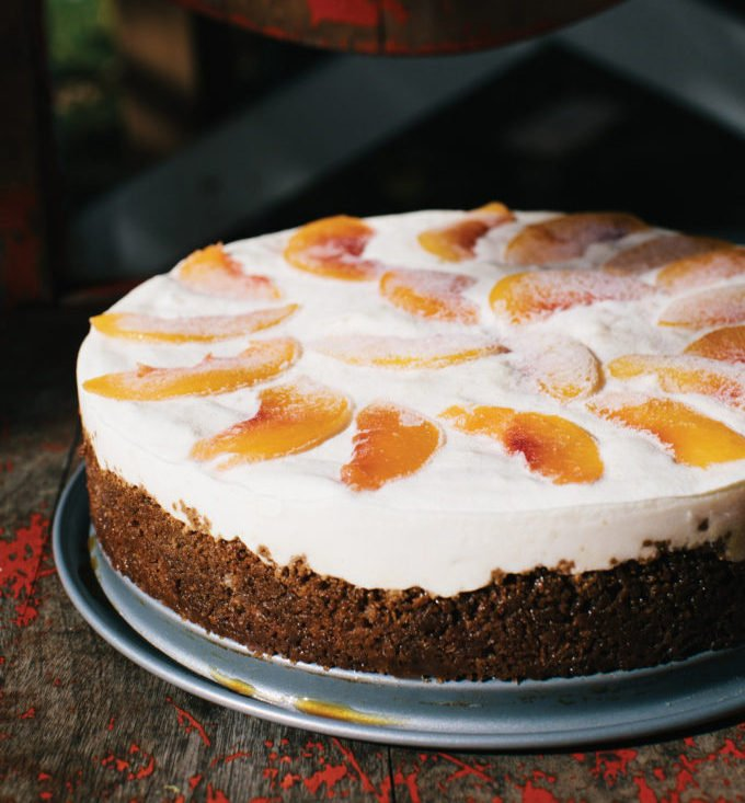 Frozen Peaches and Cream Cake