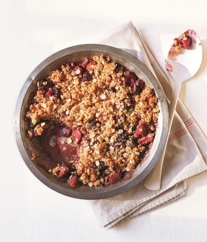 Strawberry-Cherry Whole-Grain Crumble