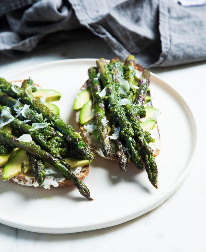 Avocado and Asparagus Tartines