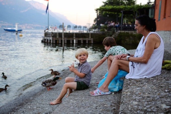 Feeding ducks at Lake Como