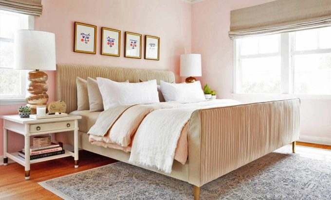 Master bedroom with pink paint