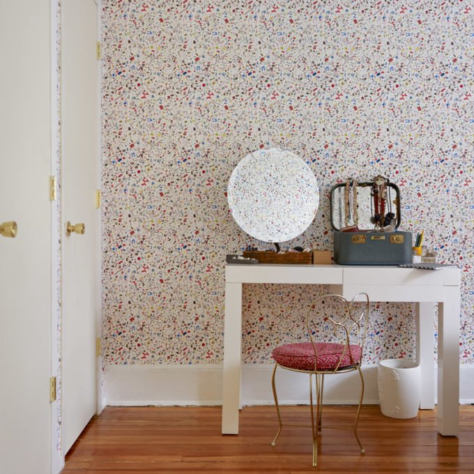 Audrey Gelman bedroom with Too Much Stuff wallpaper