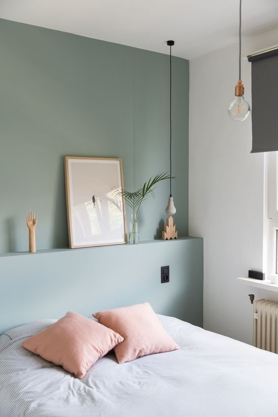 Bedroom with sage green paint
