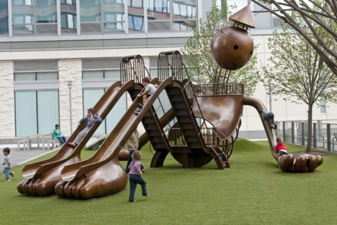 Playground sculpture by Tom Otterness in Manhattan