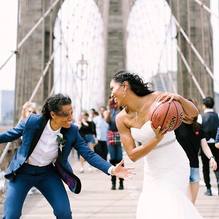 basketball wedding photo