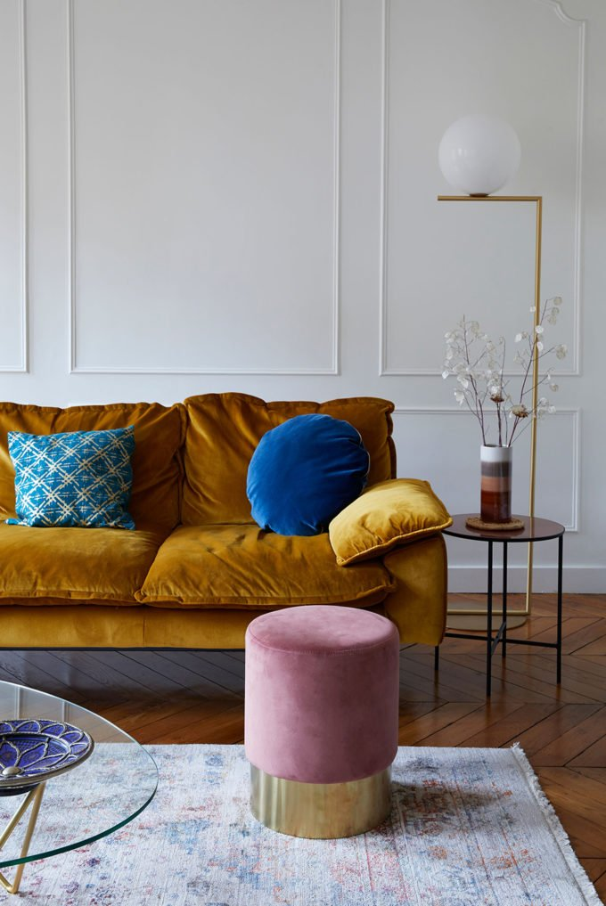 eclectic home office alison yellow paris house tour this parisian apartment will make you want velvet sofa cup of jo