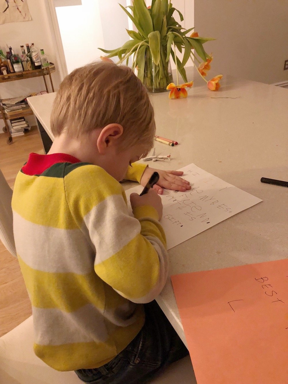 758edf49577a8 This weekend, five-year-old Anton asked me to help him write a note…