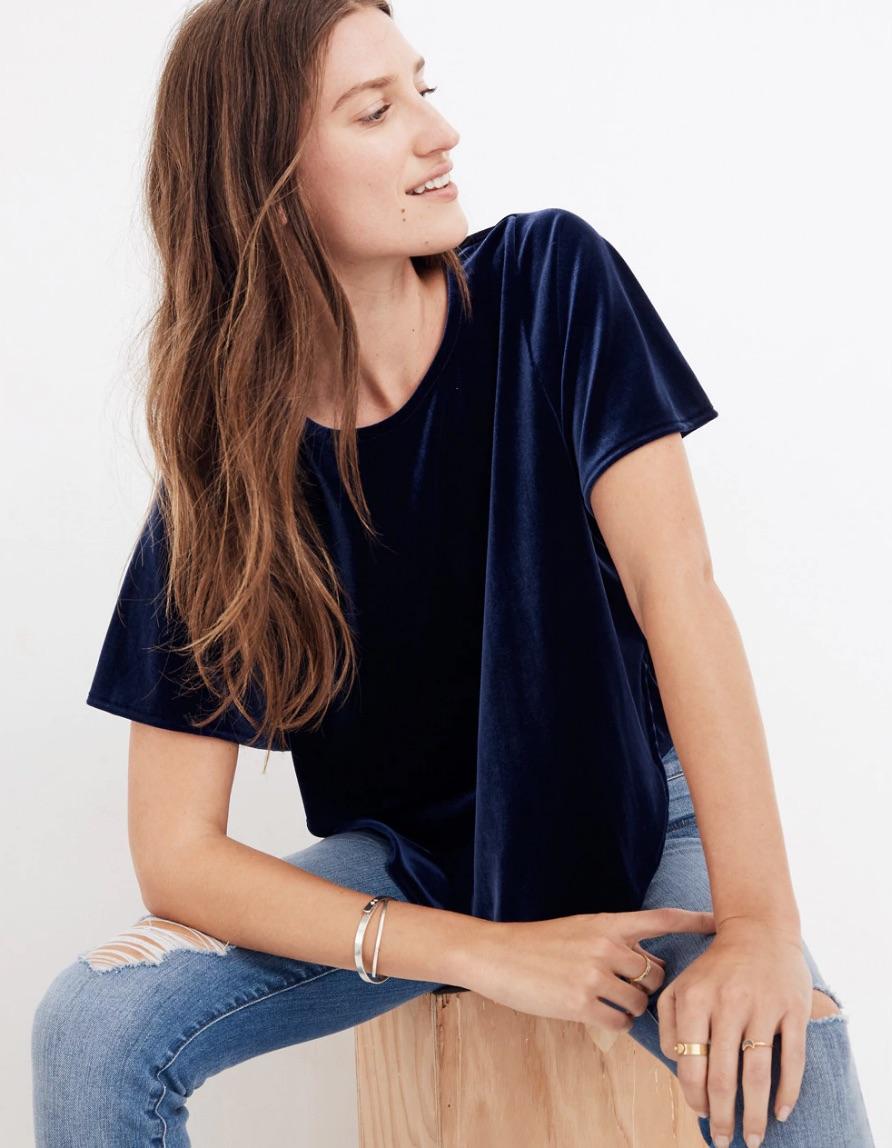 madewell velvet shirt