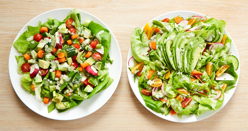 how to make a beautiful salad (before and after)