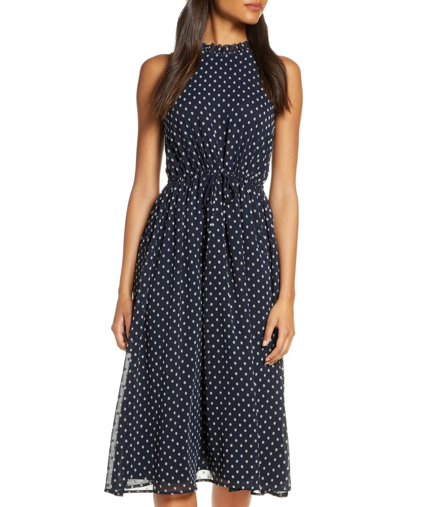 Polka-dot midi dress
