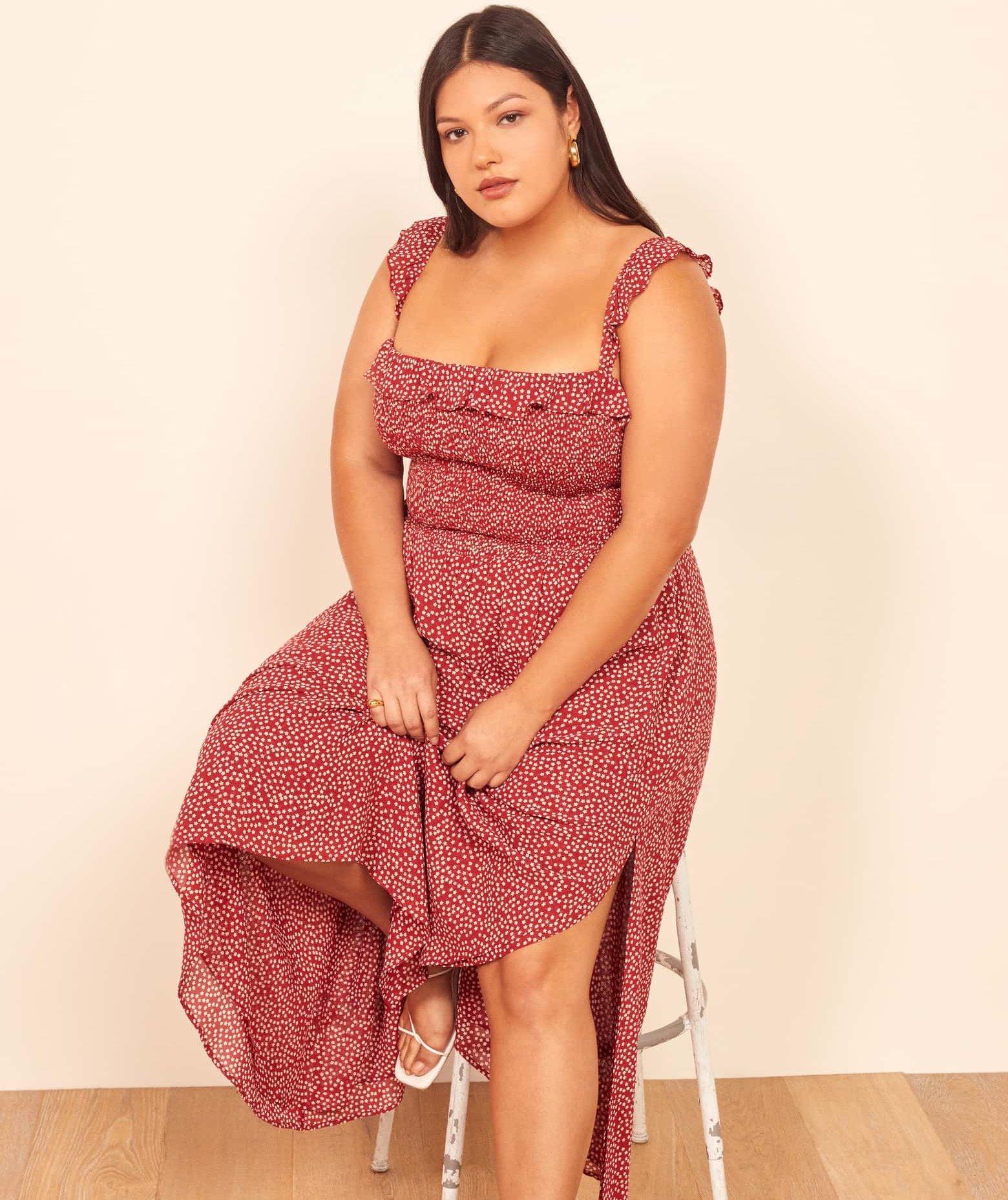 Reformation Square-Neck Midi Dress