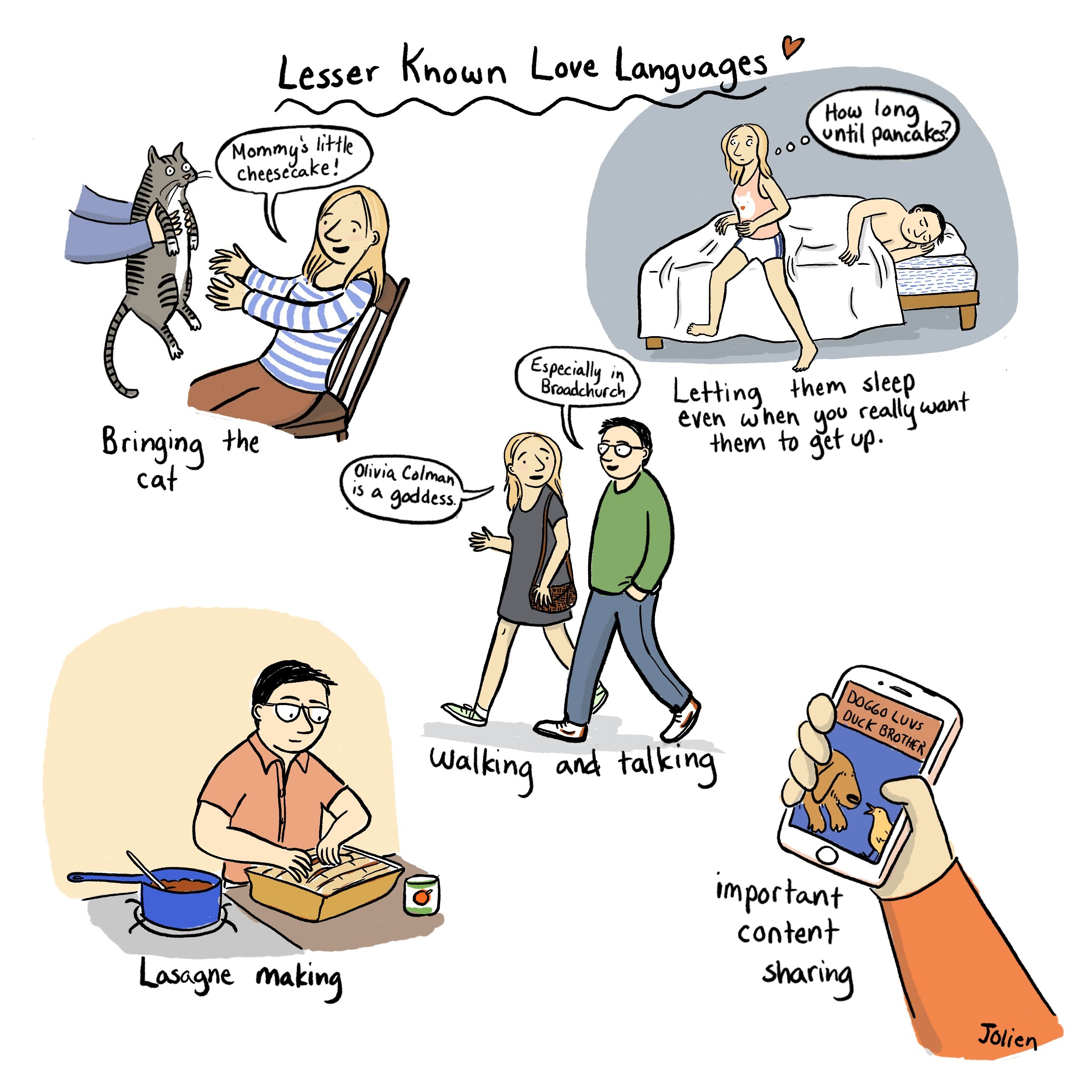 Lesser Known Love Languages comic by Jessica Olien