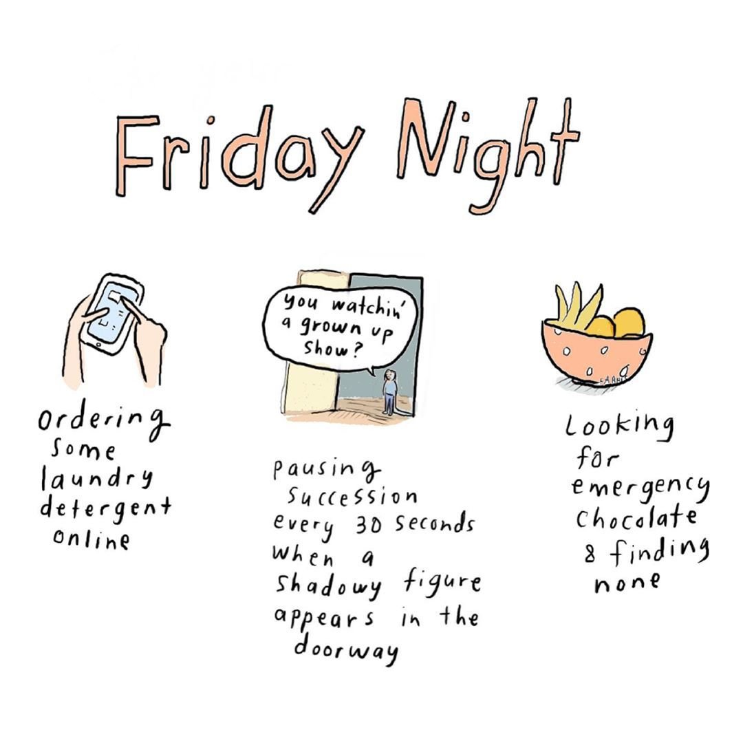 Friday Night Plans comic by Grace Farris