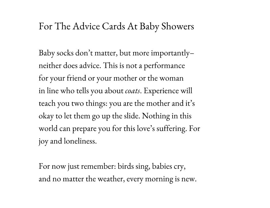 The Advice Cards At Baby Showers A