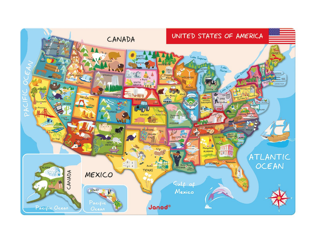 Magnetic U.S. map