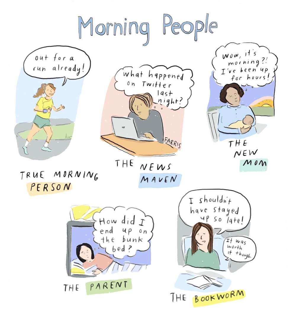 Morning People cartoon by Grace Farris