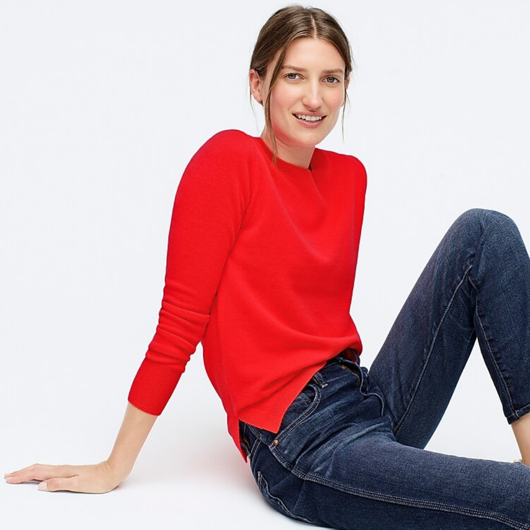J.Crew red cashmere sweater