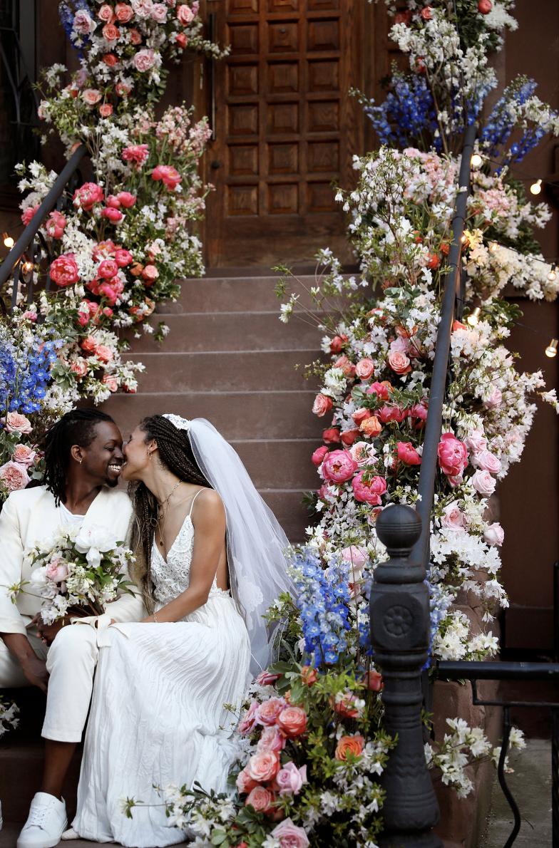 Elaine and Jonathan stoop wedding by Belathée