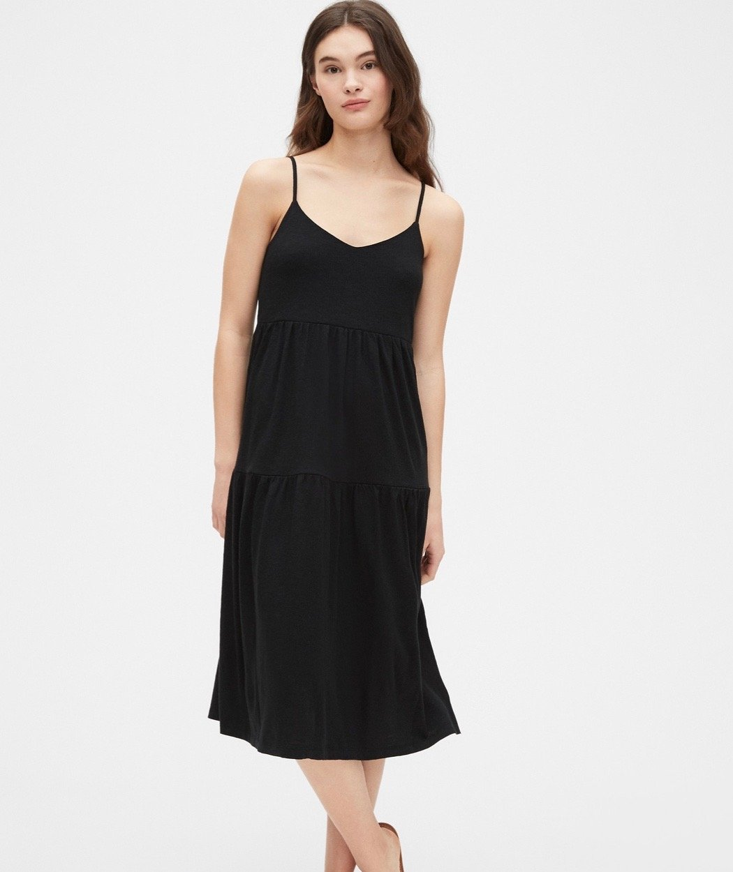 tiered black midi dress