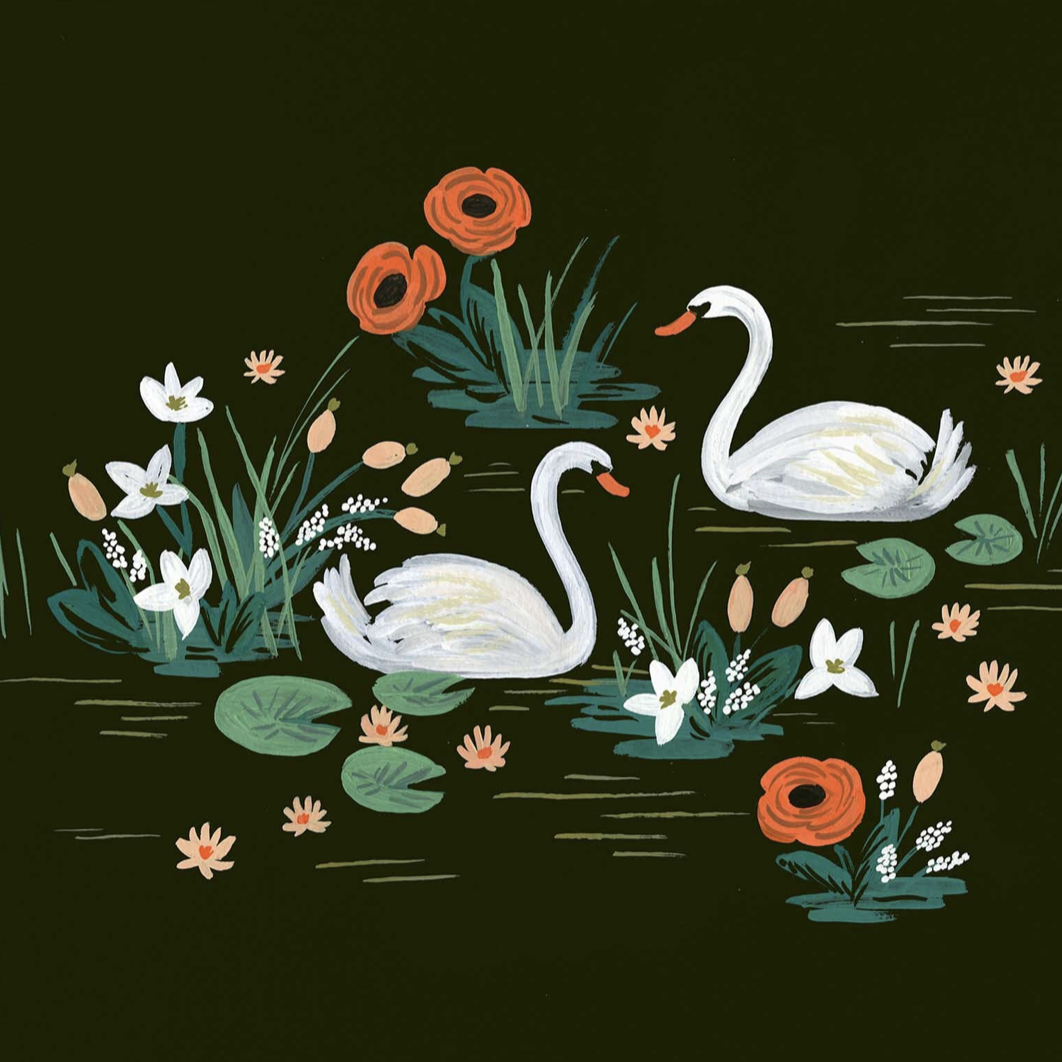 Swans print by rifle paper
