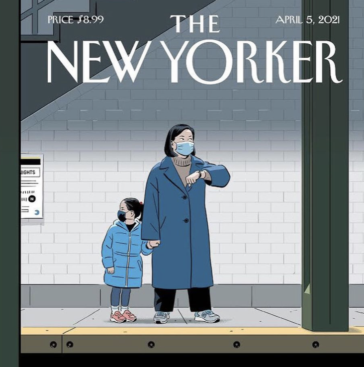 New Yorker cover subway by R. Kikuo Johnson