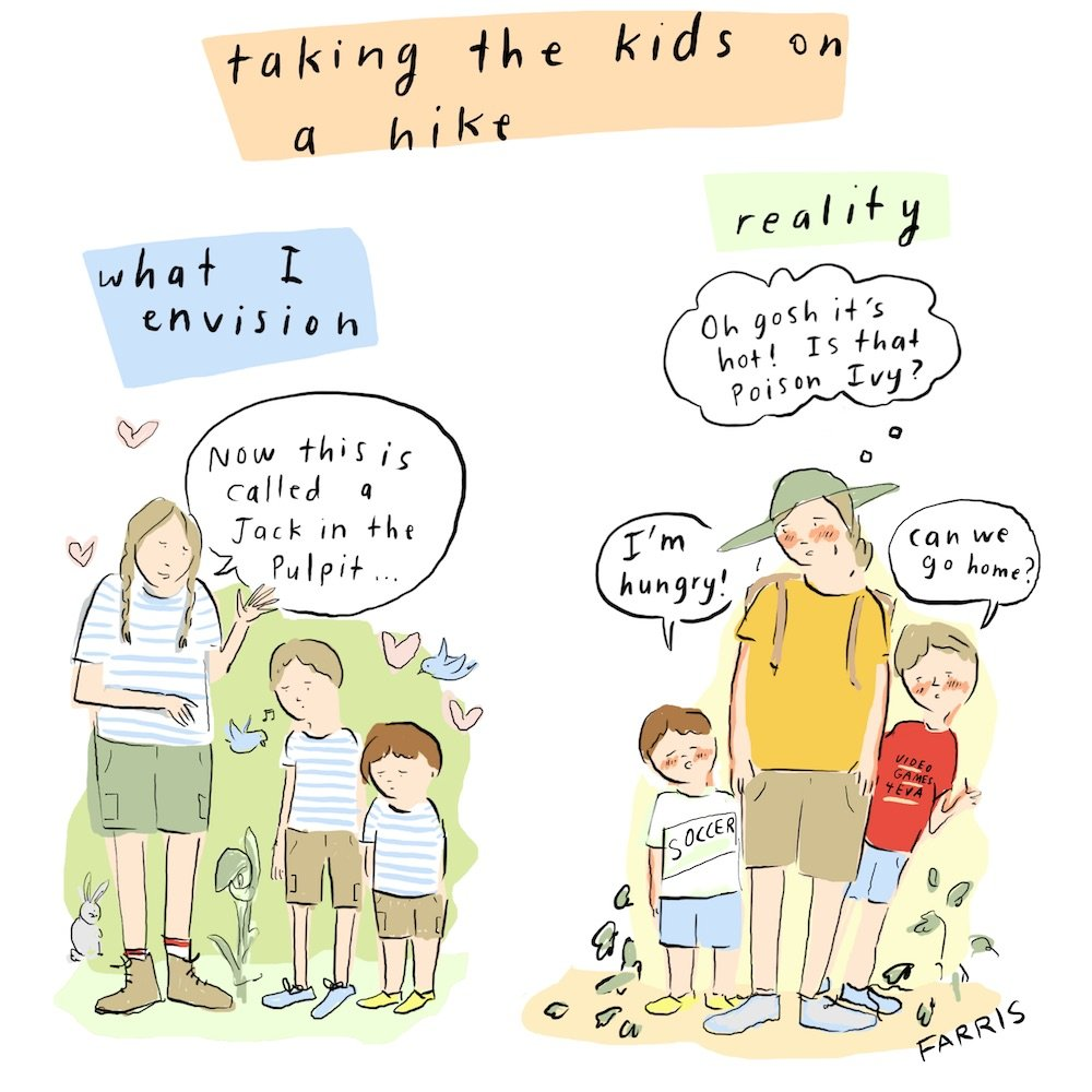 Grace Farris comic about hiking with kids