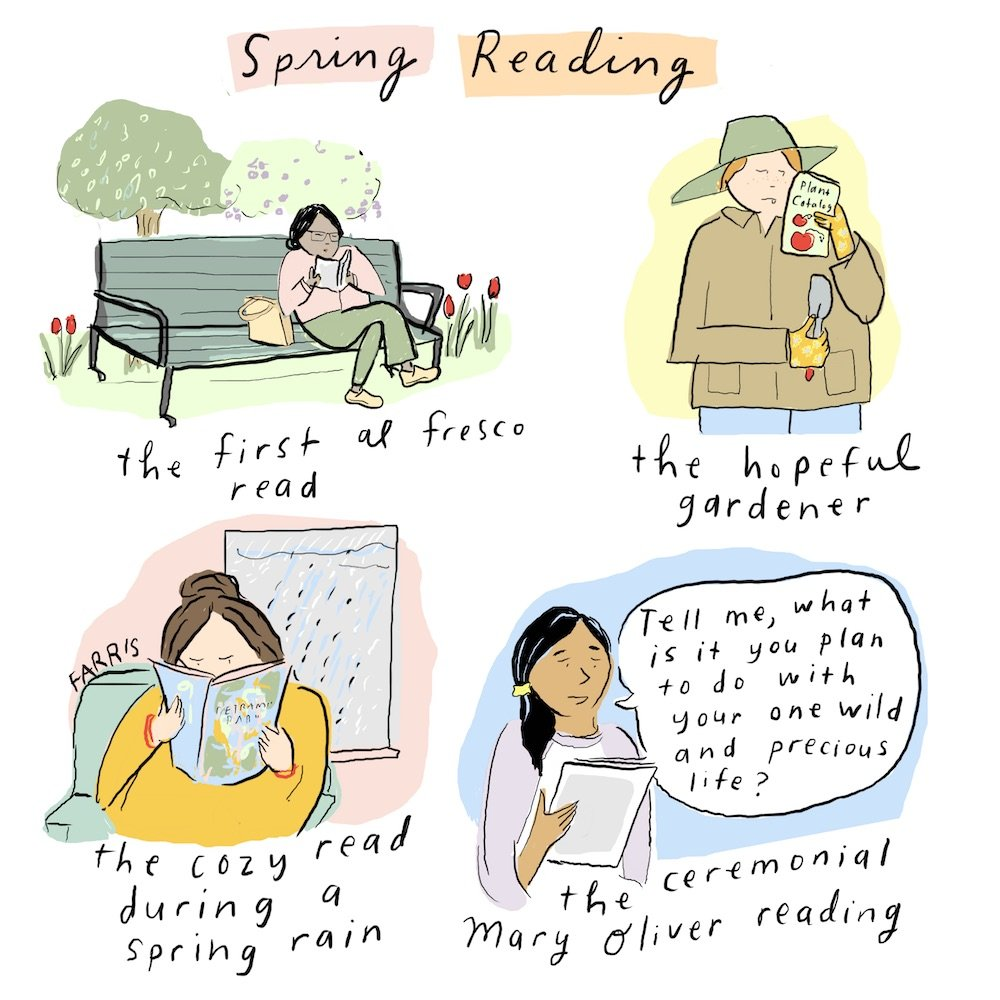 Grace Farris comic about spring reading