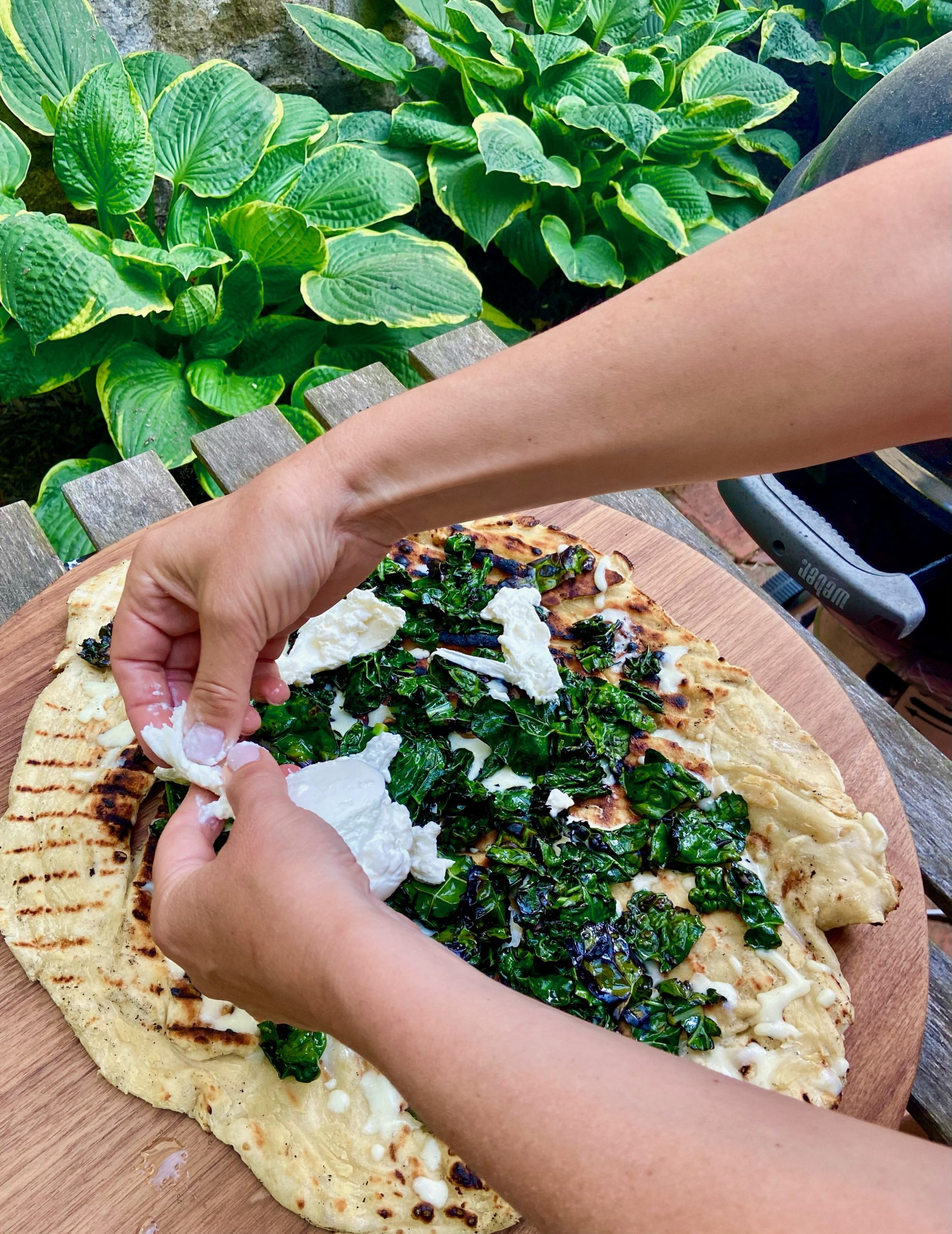 Grilled Pizza with Charred Kale and Burrata