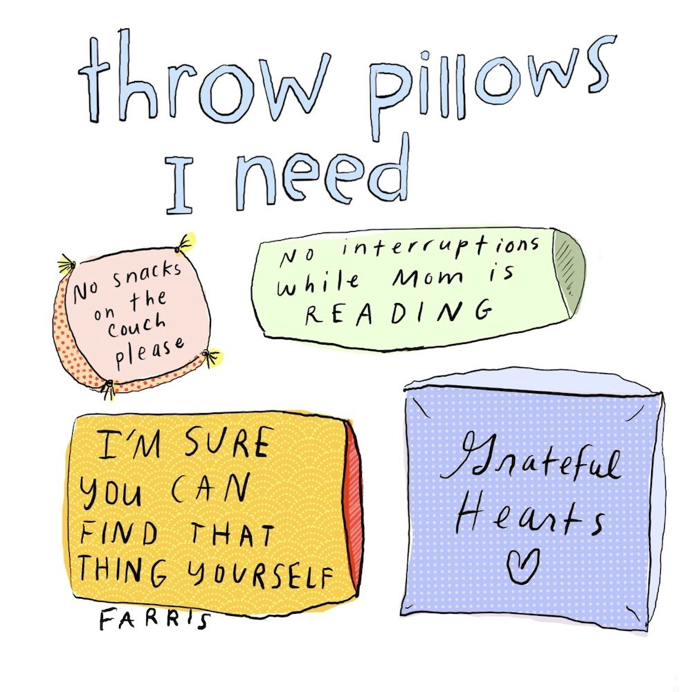 throw pillows comic by grace farris
