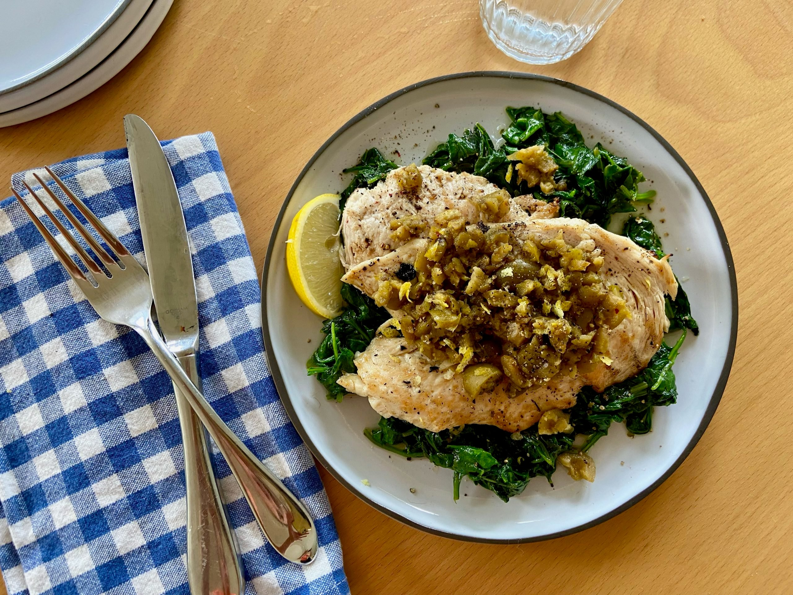 Grilled Chicken Tapenade with Lemony Spinach